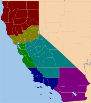 Partition and secession in California - Image: Six Californias