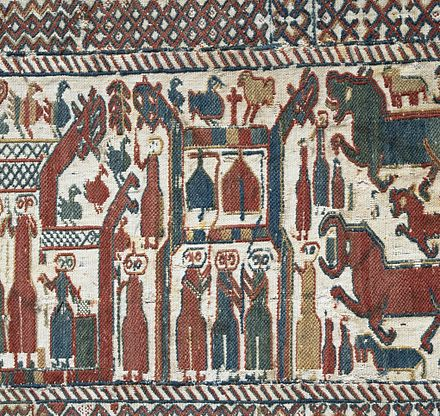 Skog tapestry, made most probably during the late 13th century. Skogbonaden.jpg