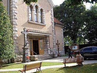 Krásna - Park in front of the church in Krásna