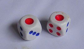 Chinese dice Snake eyes with Chinese dice.jpg