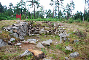 Archaeology of the Romani people - Excavated building foundations in Snarsmon, Sweden, 2009.