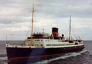 SS Snaefell (1948) - Sneafell pictured leaving Douglas.