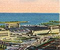 Soldiers' Field (cropped), view showing band shell, Field Museum, Shedd Aquarium, Adler Planetarium, Soldiers' Field, Northerly Island, Chicago (74767).jpg