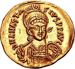 Golden coin depicting Anastasius