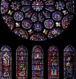 Standing on the shoulders of giants - An illustration of New Testament evangelists on the shoulders of Old Testament prophets, looking up at the Messiah (from the south rose window of Chartres Cathedral)