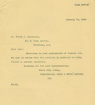 Application for employment - Rejection letter dated January 16, 1913
