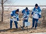 Soyuz MS-12 crew during the tree planting ceremony.jpg