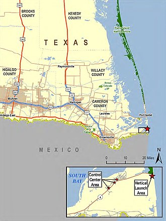 SpaceX South Texas Launch Site - Regional location of the proposed SpaceX Texas launch facility, from the FAA draft EIS, April 2013.