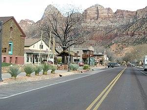 The town of Springdale, Utah, United States, w...