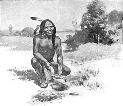Squanto known for having been an early liaison between the native populations in Southern New England and the Mayflower settlers, who made their settlement at the site of Squanto's former summer village. Squantoteaching.png
