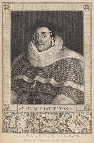 Edward Littleton (died 1558) - Sir Thomas de Littleton, grandfather of Edward Littleton. An 18th-century engraving after a 15th-century painting.