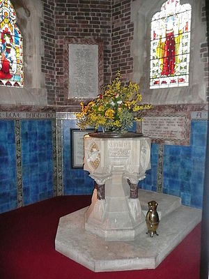 St Mark's Church, Royal Tunbridge Wells - The Caen stone font and some of the stained glass