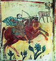 St Eustathios & deer with a crucifixion (Georgian fresco, 12th cent).jpg