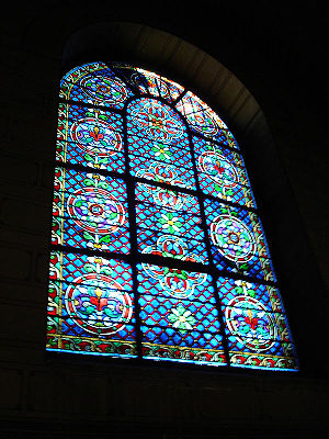 Stained glass in the Abbey of Saint-Germain-de...