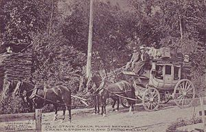 Charlestown, New Hampshire - Old stage coach in 1907, plying between Charlestown and Springfield, Vermont