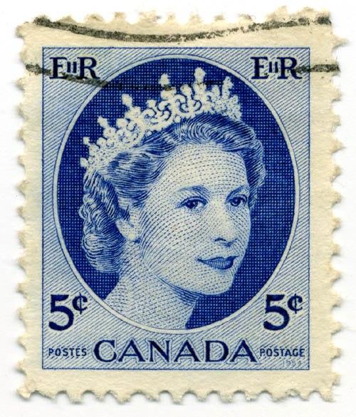 Stamp Canada 1954 5c QE2