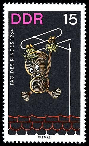 Pittiplatsch - Pittiplatsch on a Children's Day stamp from 1964, illustrated by Werner Klemke