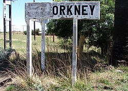 Orkney railway station name board