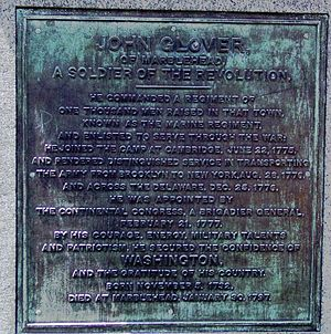 John Glover (general) - Inscription from Statue of Glover on Commonwealth Avenue, Boston (click for larger view).
