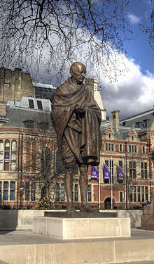 Statue of Mahatma Gandhi, Parliament Square wider view.jpg