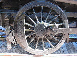 Driving wheel - A driving wheel on a steam locomotive.