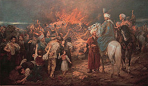Uprising in Banat - The burning of Saint Sava's relics by the Ottomans. Painting by Stevan Aleksić (1912)