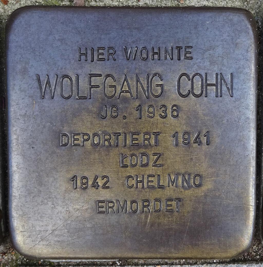 Stolperstein Bleicherstraße 74 (Wolfgang Cohn) in Hamburg-St. Pauli.JPG