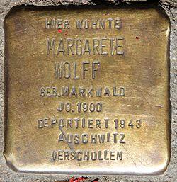 Photo of Margarete Wolff brass plaque