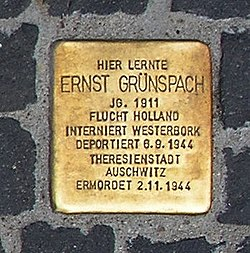 Photo of Ernst Abraham Grünspach brass plaque