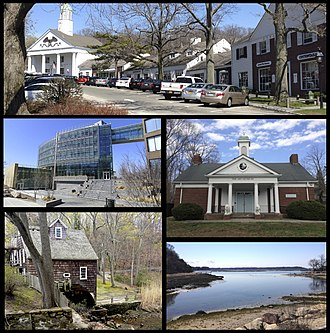Stony Brook, New York - Clockwise from top the Stony Brook Village Center, the art building at the Long Island Museums, Stony Brook Harbor, the c.1751 Stony Brook Grist Mill, and the Simons Center for Geometry and Physics at Stony Brook University