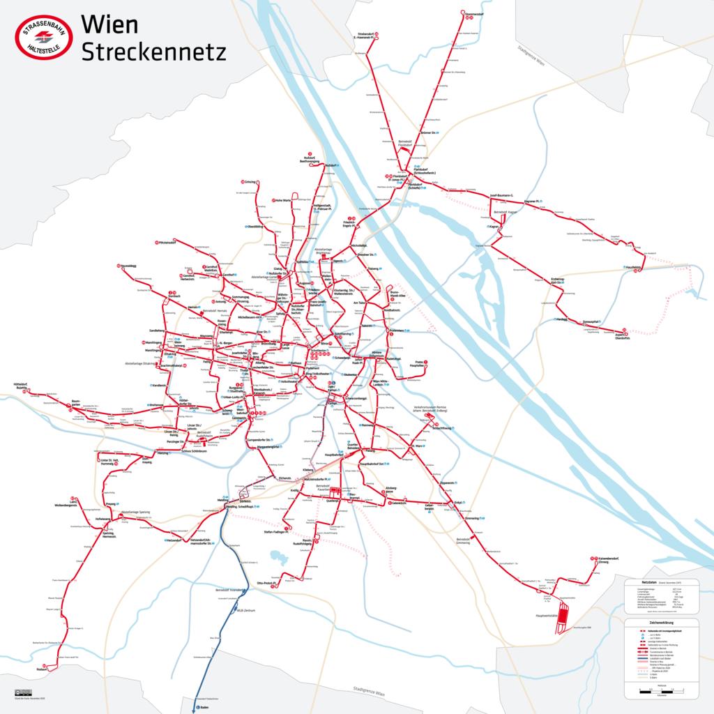 Plano de los tranvías de Viena