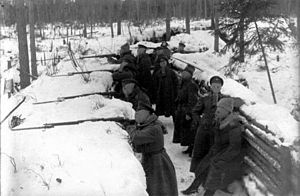 Latvian Riflemen - Latvian Rifleman in the trenches during Christmas Battles