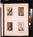 """Studio portraits of a Japanese """"betto"""" (groom), a high official in court attire, a courtesan and a pilgrim or priest, wearing white robes and carrying a bell LCCN2011649868.jpg"""