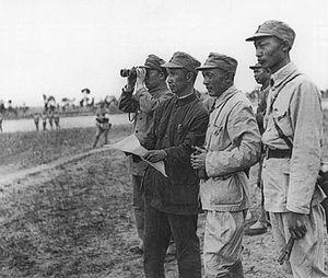Menglianggu Campaign - Comnmunist commander Su Yu, second from left, surveying the battlefield before the Menglianggu Campaign in 1947.