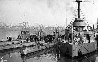 ARA Independencia (1891) - Independencia with Santa Fe class submarines, Mar del Plata, circa 1947.