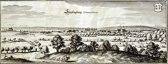 Süpplingenburg - Süpplingburg Commenthurey, engraving by Matthäus Merian, about 1650