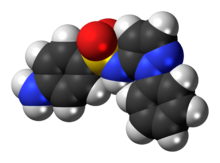 Space-filling model of the sulfaphenazole molecule