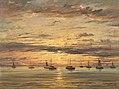 Sunset at Scheveningen A Fleet of Fishing Vessels at Anchor A18373.jpg