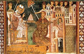 Ο Κωνσταντίνος (αριστερά) δίνει αυτοκρατορική εξουσία στον Πάπα Συλβέστρο (δεξιά).
