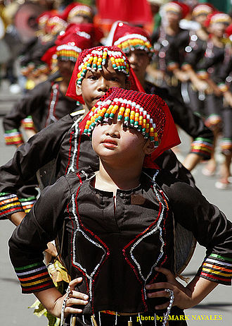 Subanon people - Subanen dance during colorful street dancing competition, Dapitan City, Zamboanga del Norte
