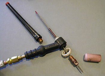 A gas tungsten arc welding torch.