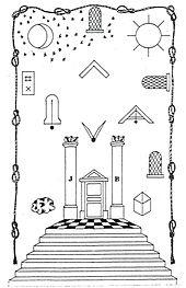 tracé en noir et blanc d'un tableau de loge