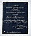 Tablica upamiętniająca Maurycego Spokornego na budynku dyrekcji Tramwajów Warszawskich przy ul. Siedmiogrodzkiej 20.jpg