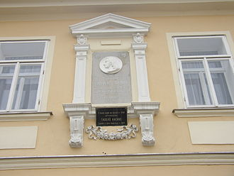 Thaddäus Haenke - Memorial plaque of 1885 at his birthplace, in German, with plaque in Czech added in the 1960s