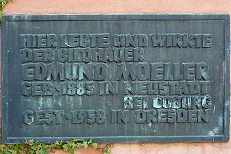 Edmund Moeller - Memorial plate at Moeller's former house in Dresden-Mockritz.