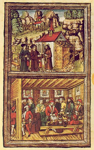 Nicholas of Flüe - A plate from the Amtliche Luzerner Chronik of 1513 of Diebold Schilling the Younger, illustrating the events of the Tagsatzung at Stans in 1481. Top: A priest named Heini am Grund visits Niklaus von Flüe to ask him for his advice to save the failing Tagsatzung at Stans, where the delegates of the rural and urban cantons of the Old Swiss Confederacy could not agree and threatened civil war. Bottom: Am Grund returned to the Tagsatzung and related Niklaus' advice, whereupon the delegates compromised. Am Grund is shown holding back a bailiff who wants to go and spread the good news already: Niklaus' advice remains secret to this day.