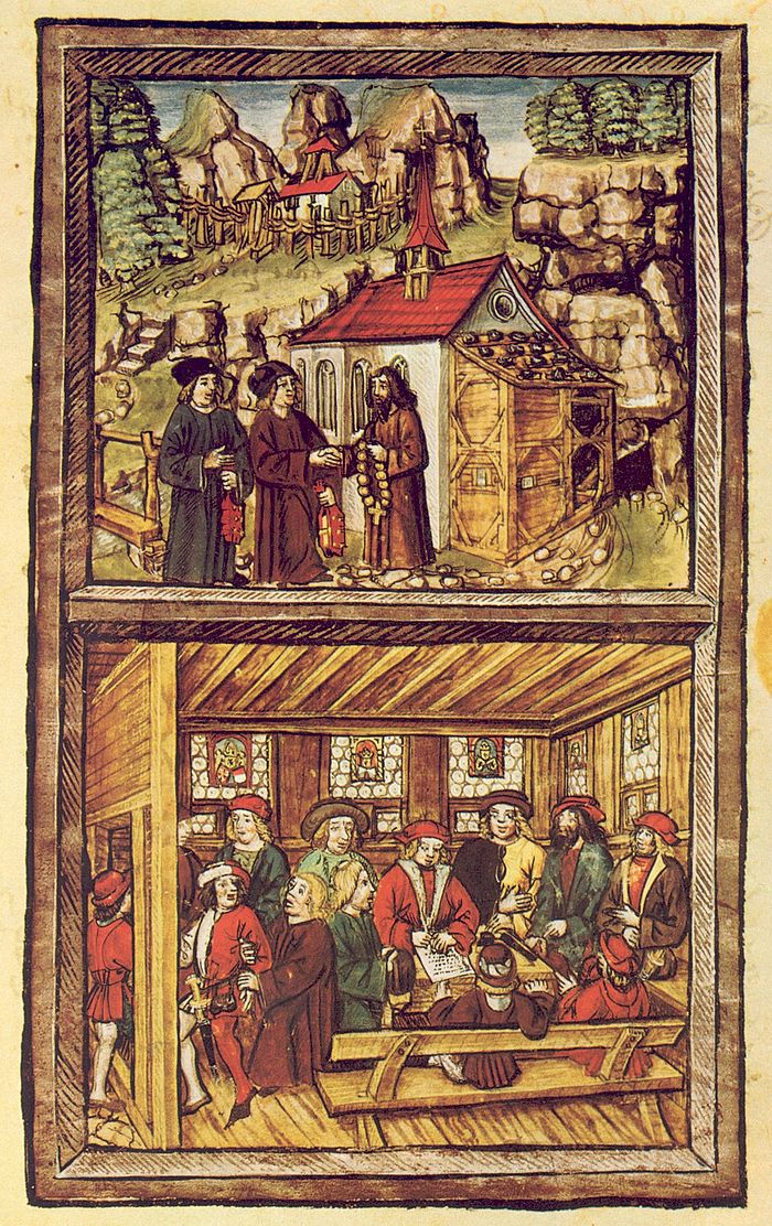 A plate from the Amtliche Luzerner Chronik of 1513 of Diebold Schilling the Younger, illustrating the events of the Tagsatzung at Stans in 1481. Top: A priest named Heini am Grund visits Niklaus von Flue to ask him for his advice to save the failing Tagsatzung at Stans, where the delegates of the rural and urban cantons of the Old Swiss Confederacy could not agree and threatened civil war. Bottom: Am Grund returned to the Tagsatzung and related Niklaus' advice, whereupon the delegates compromised. Am Grund is shown holding back a bailiff who wants to go and spread the good news already: Niklaus' advice remains secret to this day. Tagsatzung Stans 1481.jpg