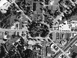 Aerial photo of the Tallmadge Circle, a traffic circle located in the center of Tallmadge