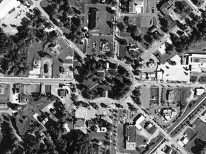 Tallmadge, Ohio - Aerial photo of the Tallmadge Circle, a traffic circle located in the center of Tallmadge