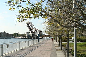 Tampa Riverwalk - A section of Tampa's Riverwalk along the Hillsborough River and Curtis Hixon Park